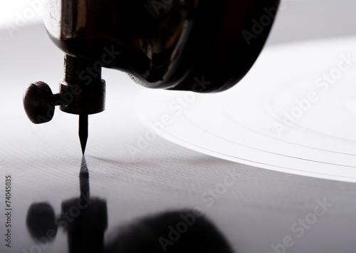 Leinwandbild Motiv gramophone needle playing record
