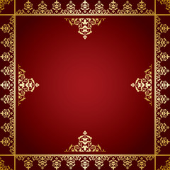 red background with golden victorian ornament - vector