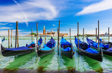 Gondolas moored by San Marco square, Venice