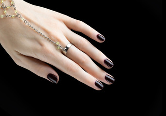 Manicured Nail with Black Matte Nail Polish. Manicure with Dark