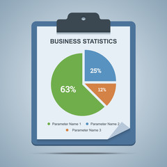 Business statistics clipboard with pie chart diagram.