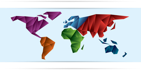 World Map frozen triangles of continents different color