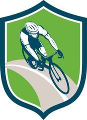 Cyclist Bicycle Rider Shield Retro