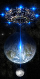 Fototapety Alien mother-ship UFO nearing Earth, with rising moon