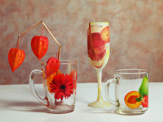 decoupage decorated cups and glass