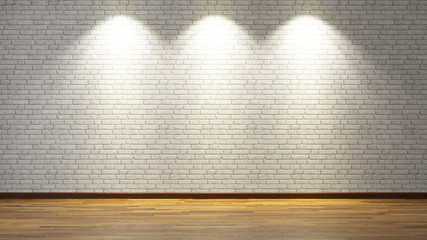 white brick wall with three spot lights