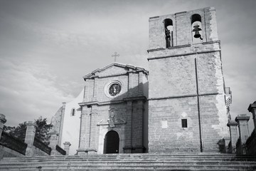 Agrigento Cathedral in Italy. Black and white image