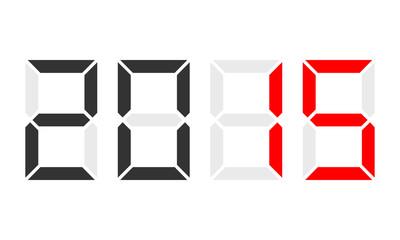 year 2015, digital clock display, red marked