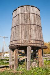 Fire tub for water. Nizhnaya Sinyachikha. Russia