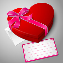 Realistic blank bright red heart shape box with ribbon, envelope
