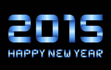 happy new year 2015 - rectangular bent blue metal letters and nu