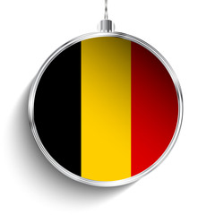 Merry Christmas Silver Ball with Flag Belgium