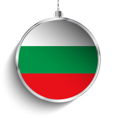 Merry Christmas Silver Ball with Flag Bulgaria