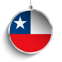 Merry Christmas Silver Ball with Flag Chile