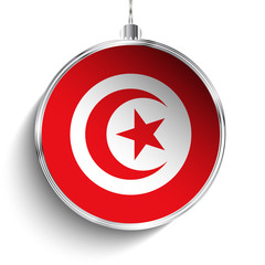 Merry Christmas Silver Ball with Flag Tunisia