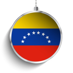 Merry Christmas Silver Ball with Flag Venezuela