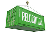 Relocation - Green Hanging Cargo Container. poster