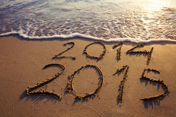 happy new year 2014 2015 on the beach