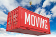 Moving - Red Hanging Cargo Container. - 74048888