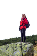 Portrait of happy young female hiker smiling