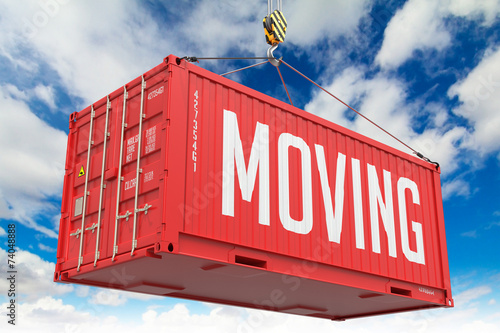 Staande foto Industrial geb. Moving - Red Hanging Cargo Container.