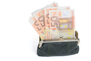 Full wallet on a white background