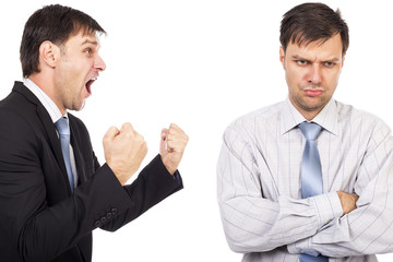 Portrait of two businessmen having a confrontation
