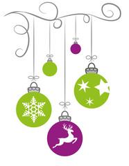 Weihnachtskugeln in hellgrün und pink
