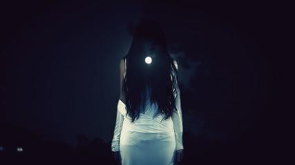 Witch full moon night Halloween
