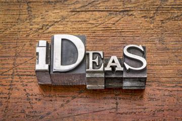 ideas word in metal type