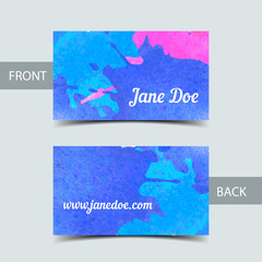 Business card template for watrcolor illustrator