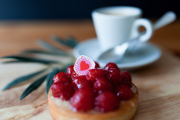 saint valentine raspberry pie with coffee