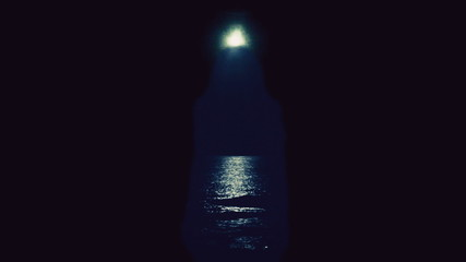 Witch night moon sea silhouette