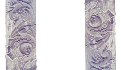 Carved stone decoration  architectural modeling isolated on a wh