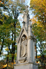 Old statue in Lychakiv Cemetery in Lviv, Ukraine, October 2014