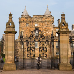 Entrance gates to the Palace of Holyroodhouse in Edinburgh, Scot