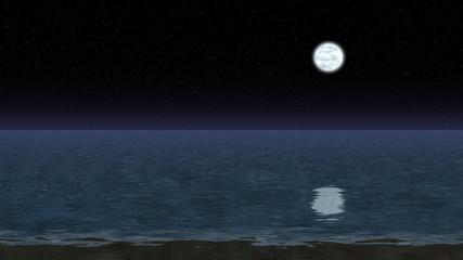 Night sea landscape generated seamless loop video