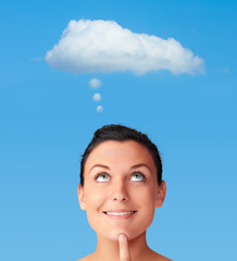 Woman with thinking cloud, symbol