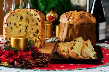"""italian christmas cake  """"panettone""""  with christmas tools"""