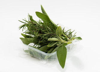 mixed sage and rosemary in market package