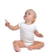 Leinwanddruck Bild - Infant child baby toddler sitting raise hand up pointing finger