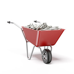 Wheelbarrow with dollar bills