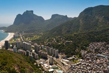 Sao Conrado Beach and District with Mountains, Rio de Janeiro