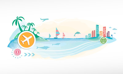 Airplane on travel background.