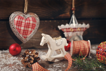 vintage christmas decoration on wooden background