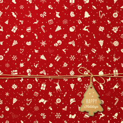Holiday Seamless Pattern  with Christmas tree tag