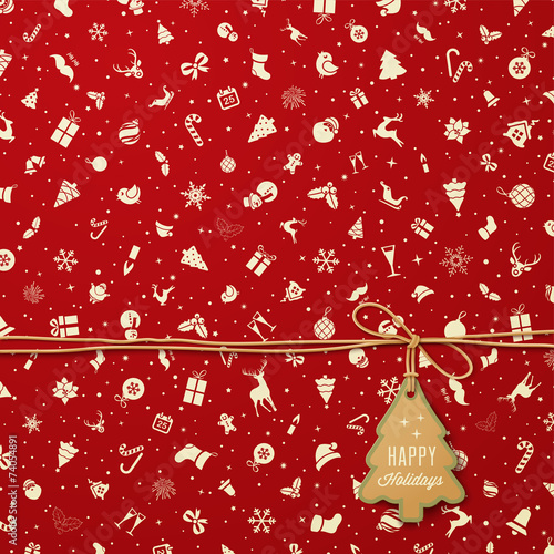 Holiday Seamless Pattern  with Christmas tree tag - 74054891