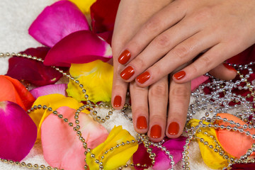 Beautiful hands with a nice manicure