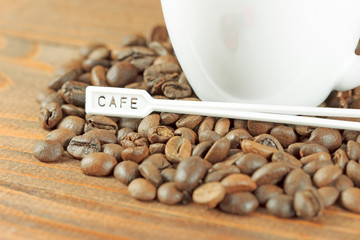 Spoon on coffee beans