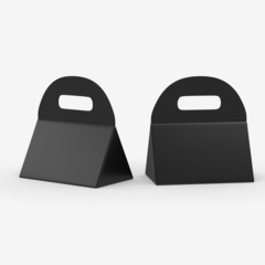 Black triangle box with handle, clipping path included
